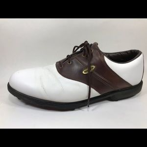 FootJoy Brown & White Leather Golf Shoes Sz 13M